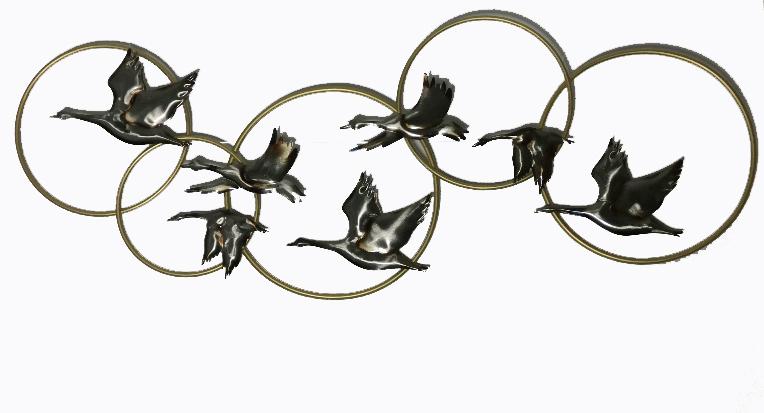 FM-32262 metalen wanddecoratie seven birds in a ring