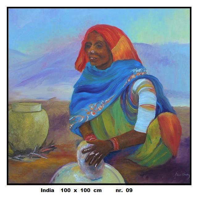 Kokende vrouw in India
