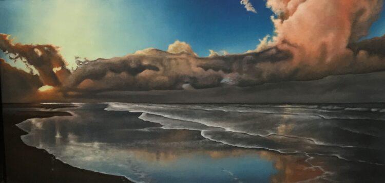 """Schilderij """"Strand, zee en donkere wolken"""""""