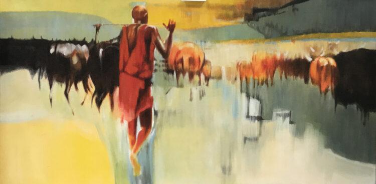 """Schilderij """"Afrikaanse koeienherder"""""""