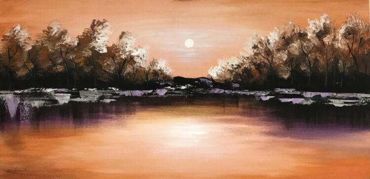 """Schilderij """"Meer en bos"""""""