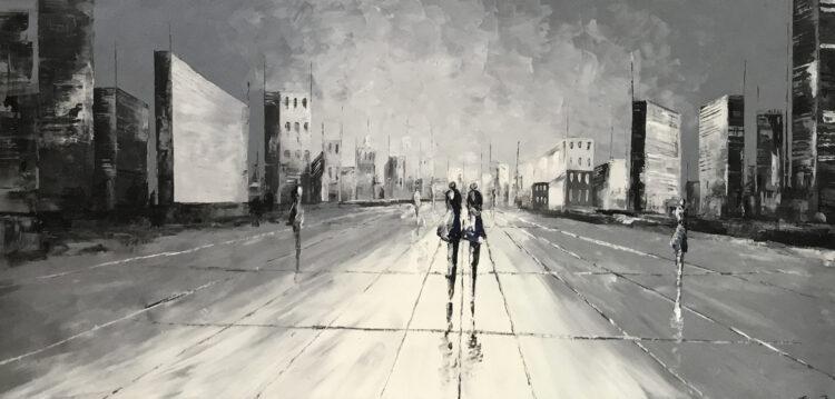 """Schilderij """"schaduwen in de stad IV"""""""