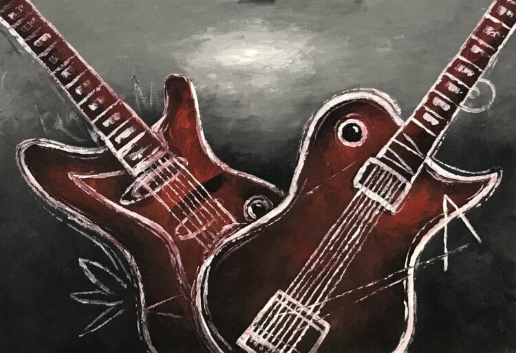 """Schilderij """"Twee abstracte gitaren"""""""