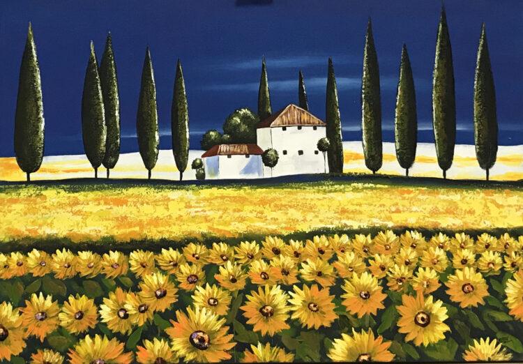 """Schilderij """"Zonnebloemen in de Provence"""""""