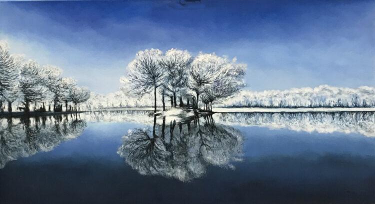 """Schilderij """"Bomen in de sneeuw / Trees in the snow"""""""