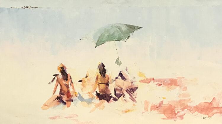 """Schilderij """"Spelend in zee aan de horizon"""""""