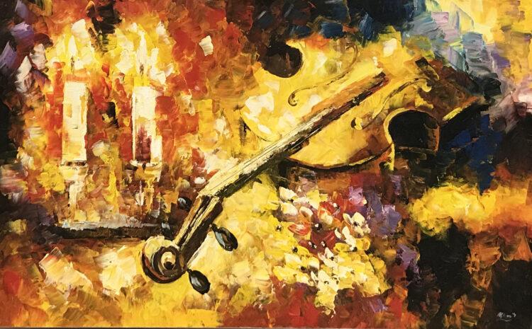 """Schilderij """"Viool bij kaarslicht"""""""