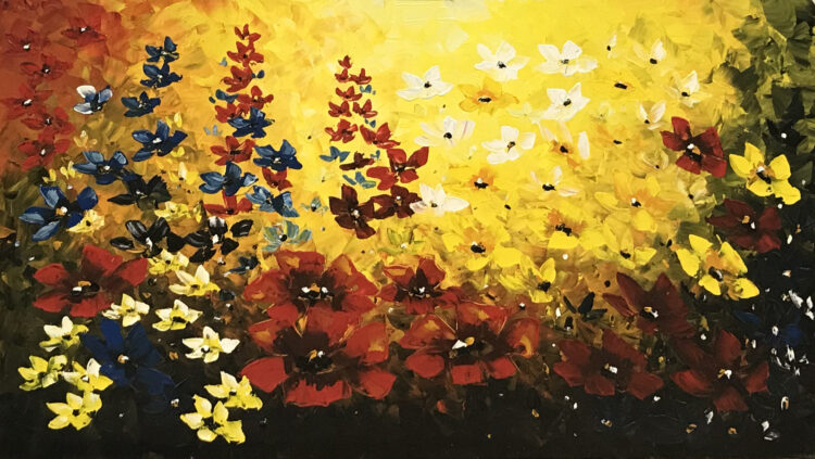"""Schilderij """"Warme bloemen"""""""