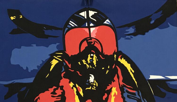 """Schilderij """"Straaljagerpiloot / fighter pilot"""""""