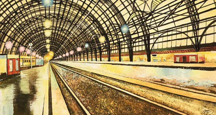 """Schilderij """"Treinstation railway station"""""""