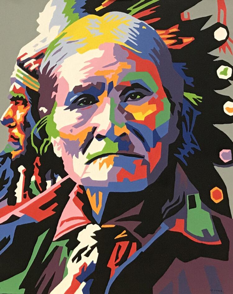 """Schilderij """"Kleurrijke indiaan"""""""