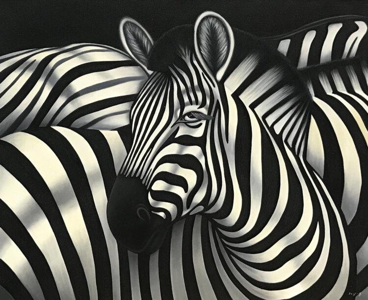 """Schilderij """"Zebra's"""""""