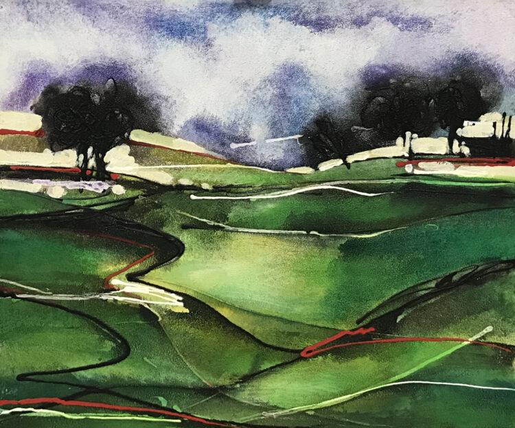 """Schilderij """"abstract landschap"""""""