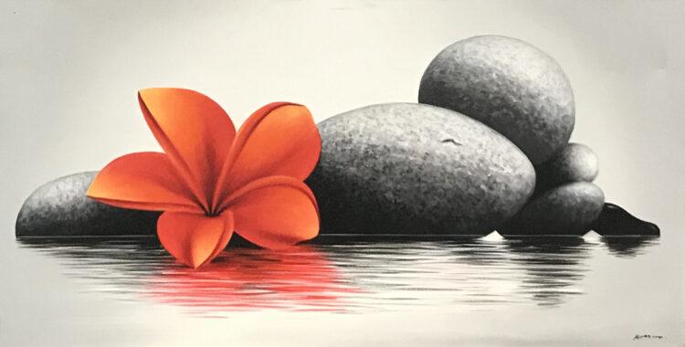 """Schilderij """"Gestapelde stenen met een Balinese bloem (Frangipani)"""""""
