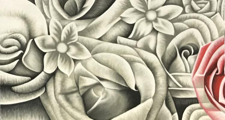 """Schilderij """"witte rozen en één roze roos"""""""