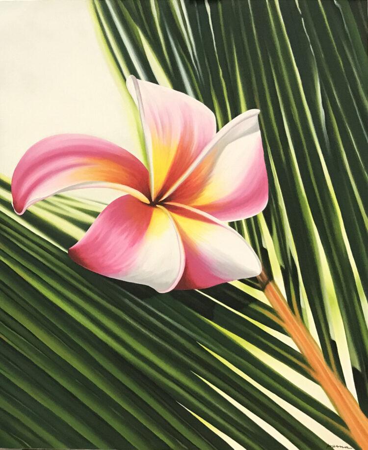 """Schilderij """"Balinese bloem (Frangipani) op palmblad (kopie)"""""""