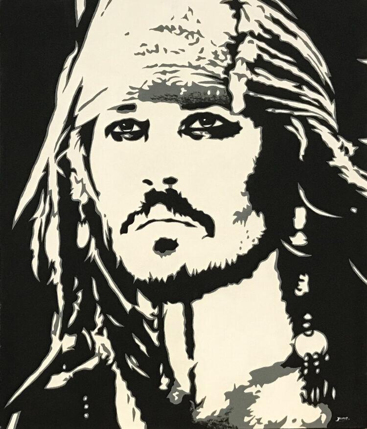 """Schilderij """"Johnny Depp / captain Jack Sparrow"""""""