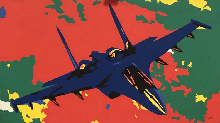 """Schilderij """"Pop art straaljager"""""""