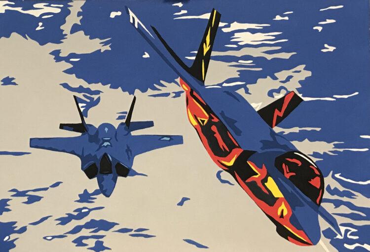 """Schilderij """"Pop art straaljager II"""""""