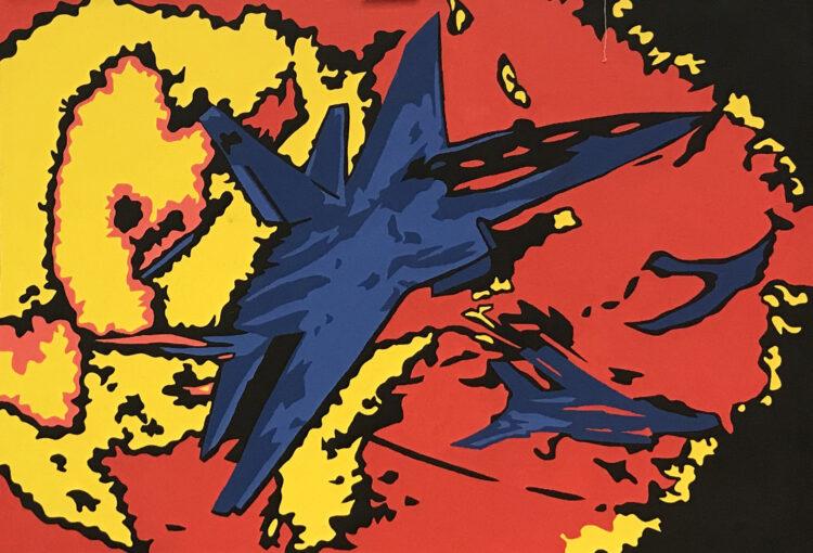 """Schilderij """"Pop art straaljager III"""""""