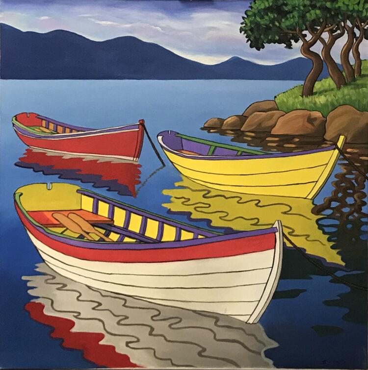 """Schilderij """"Roeiboten / rowing boats"""""""