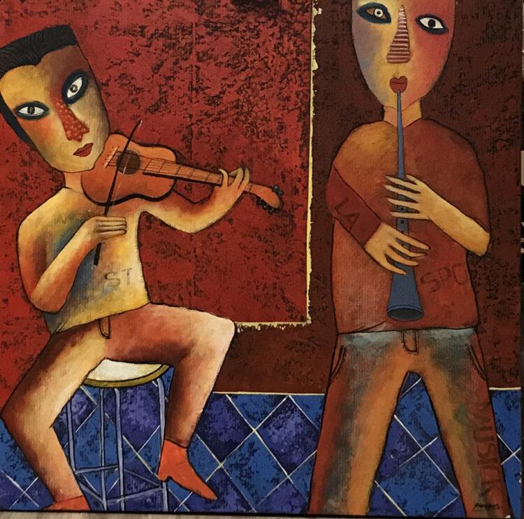 """Schilderij """"Viool en fluit (fiddle en flute)"""""""