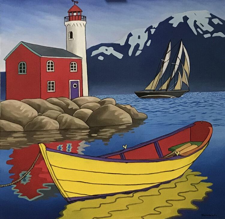 """Schilderij """"Gele roeiboot (yellow rowboat)"""""""