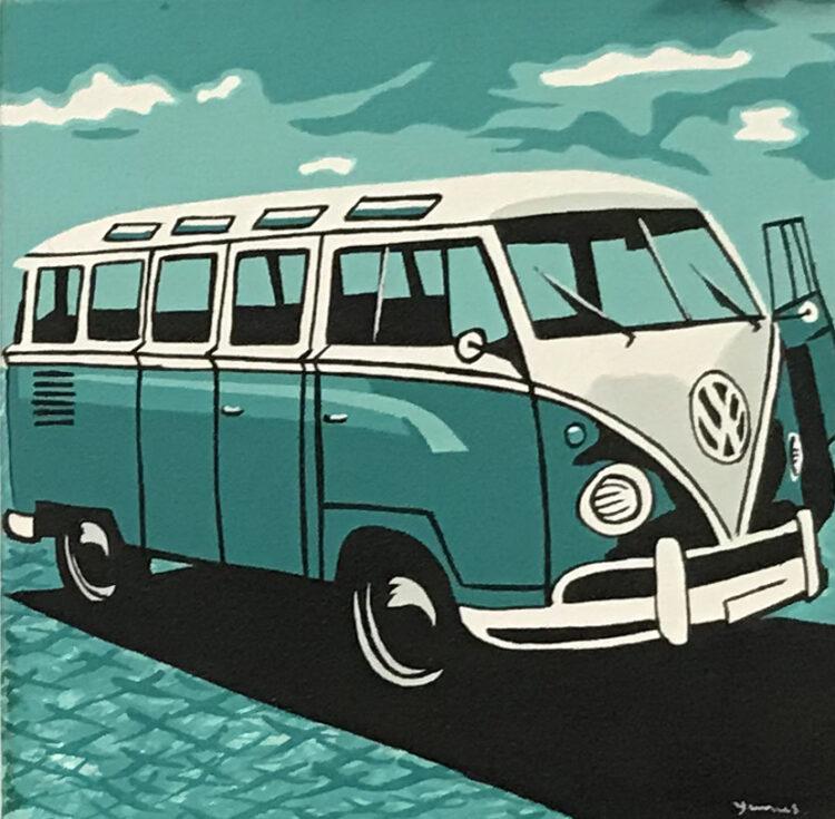 """Schilderij """"pop art VW busje / van groen"""""""
