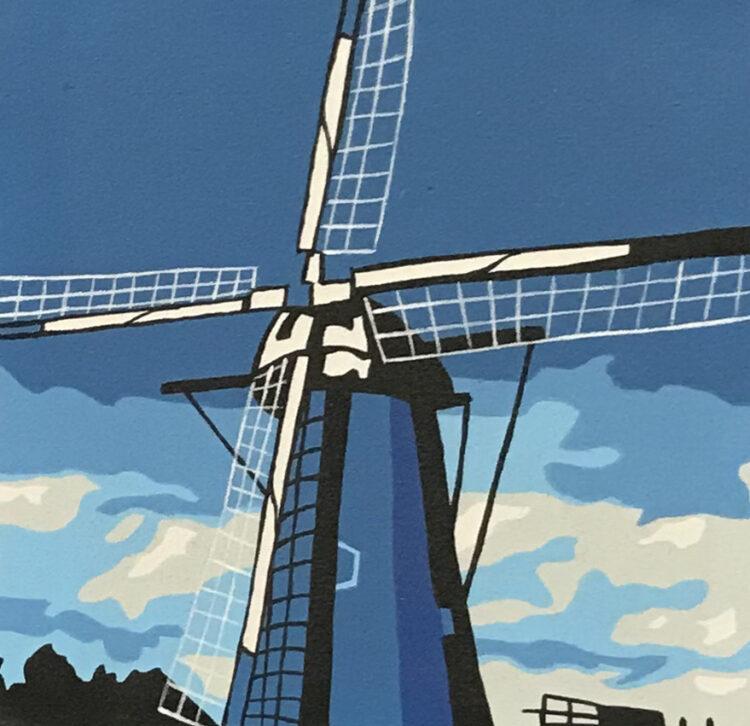 """Schilderij """"pop art molen blauw Dutch windmill blue"""""""