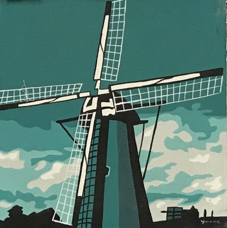 """Schilderij """"pop art molen groen Dutch windmill green"""""""