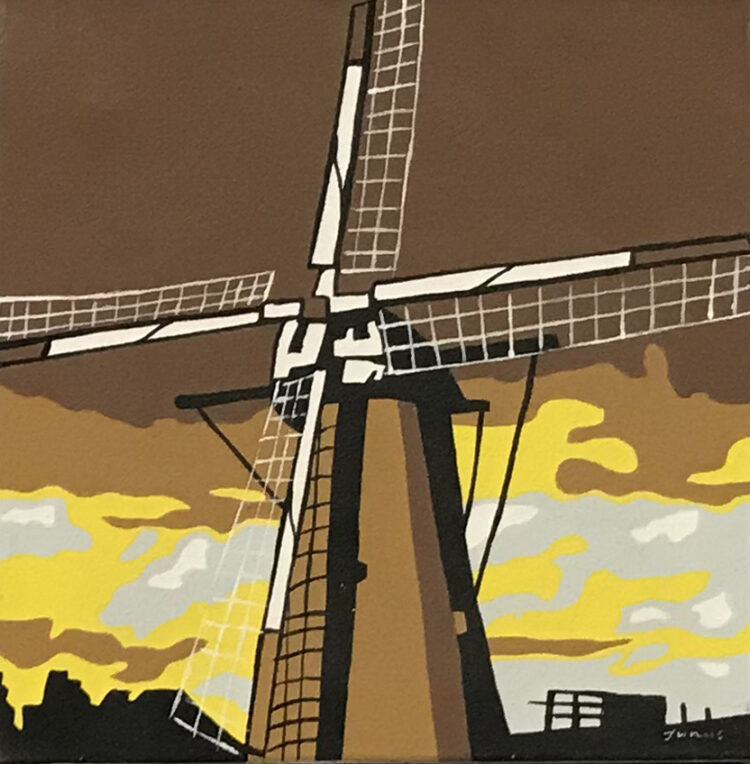 "Schilderij ""pop art molen geel Dutch windmill yellow"""