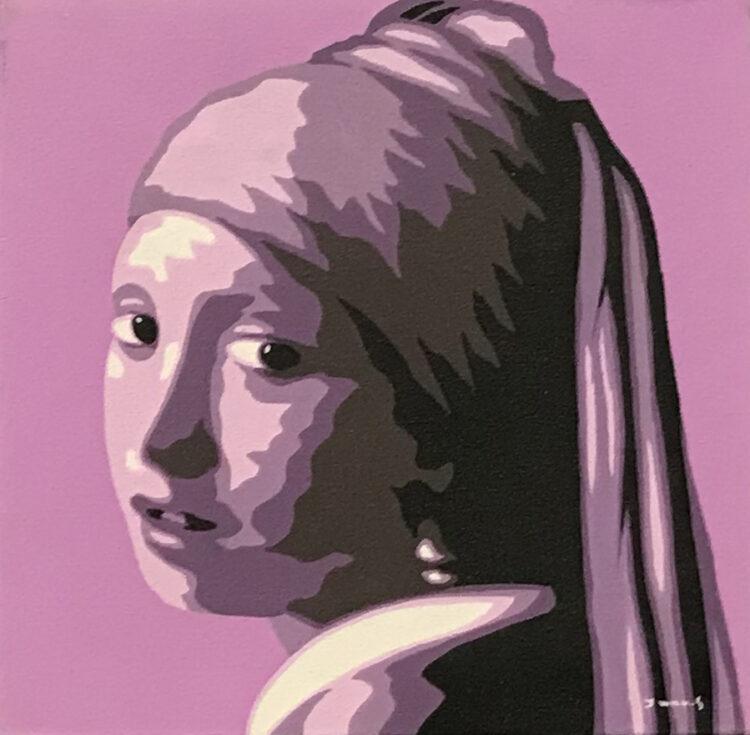 """Schilderij """"Meisje met de parel /girl with the pearl lila/paars"""""""