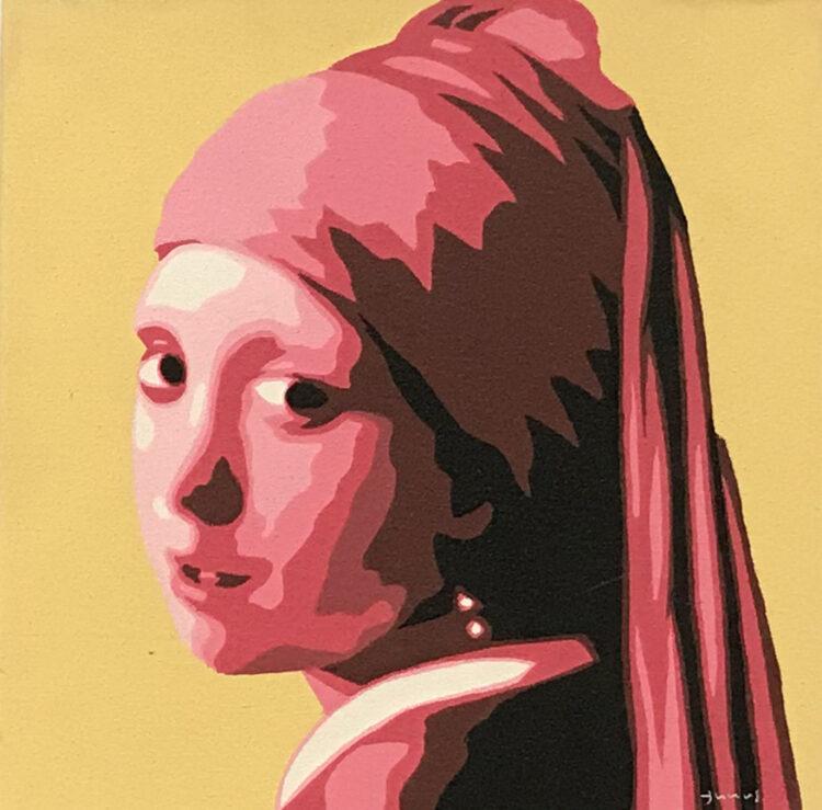 """Schilderij """"Meisje met de parel /girl with the pearl geel/rood"""""""
