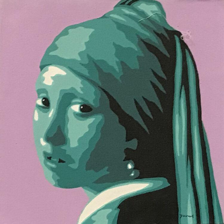 """Schilderij """"Meisje met de parel /girl with the pearl lila/groen"""""""