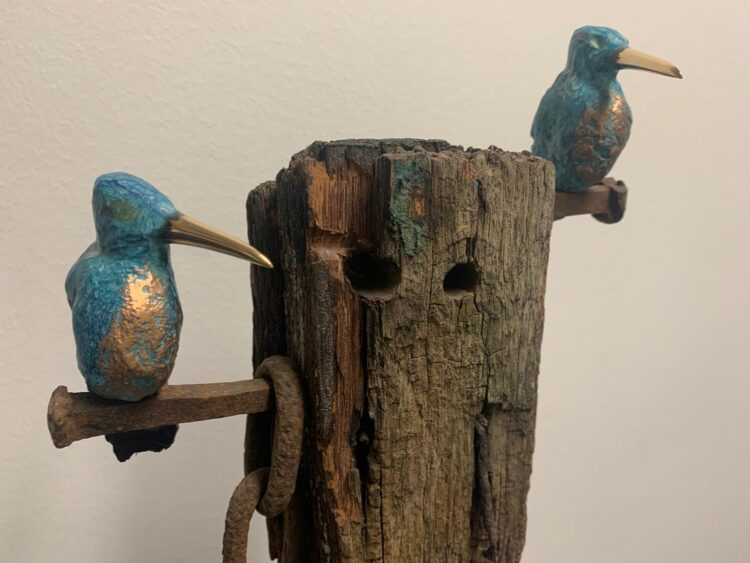 Bronzen ijsvogel op meerpaal 2 vogels
