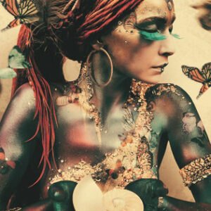 Black woman with butterflies