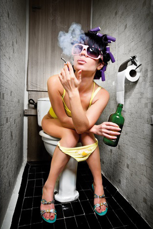 smoking and drinking girl on toilet