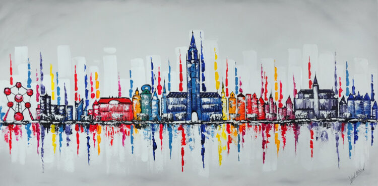 "Schilderij ""Skyline Brussel"""
