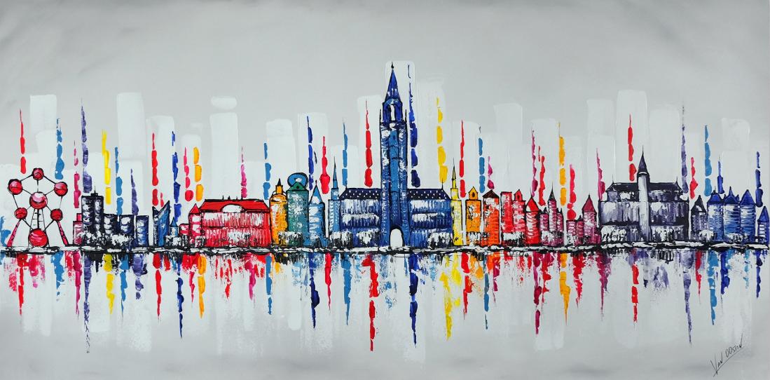 Brussel skyline schilderij