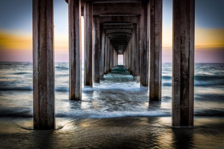 """Aluminium schilderij """"Sunset Pier"""" van Quentin"""