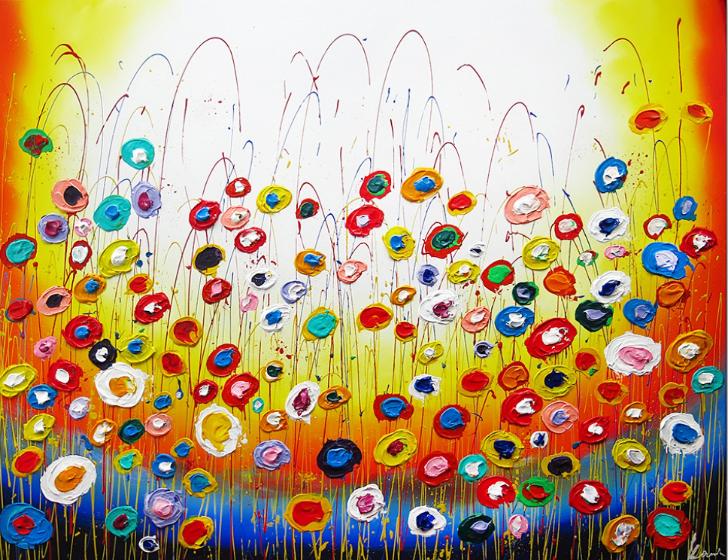 Flower party schilderij