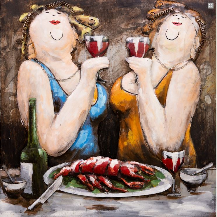 "Metalen Schilderij ""Red Wine and Lobster date of the Twins"""