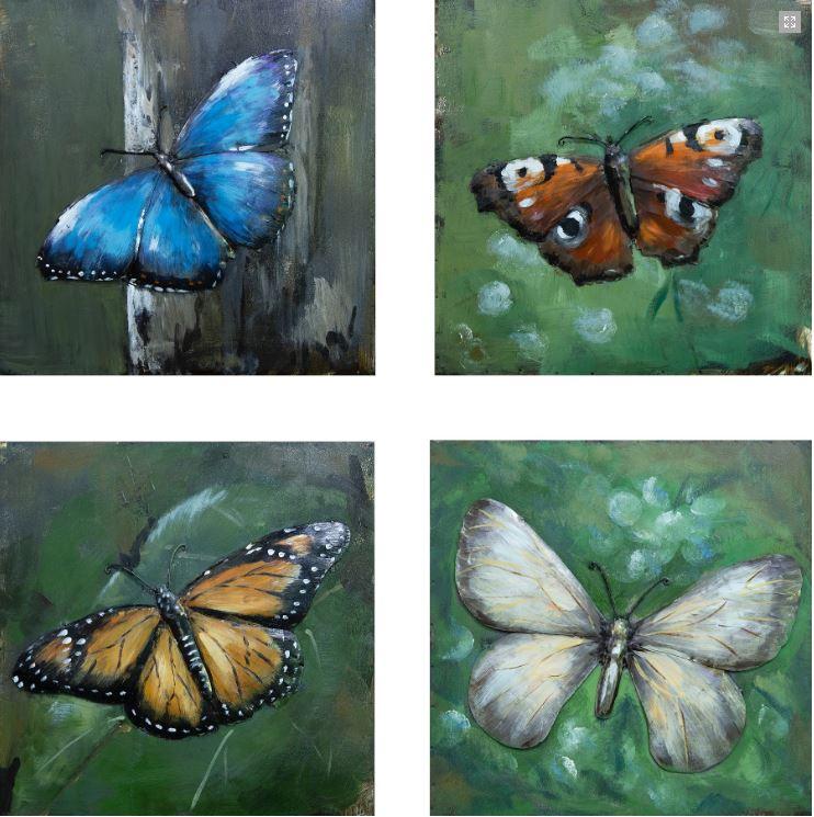 """Metalen schilderij """"Het mooie van de vlinders"""""""