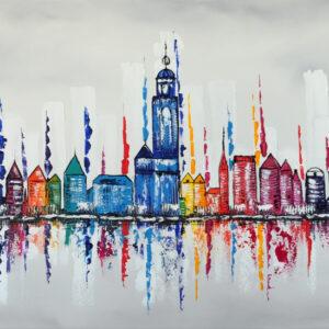 """Schilderij """"Skyline Deventer"""""""