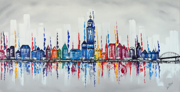 "Schilderij ""Skyline Deventer"""