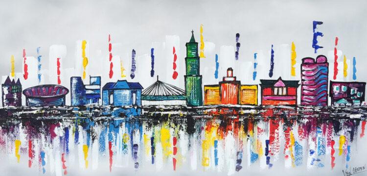 """Schilderij """"Kleurrijk Utrecht"""""""