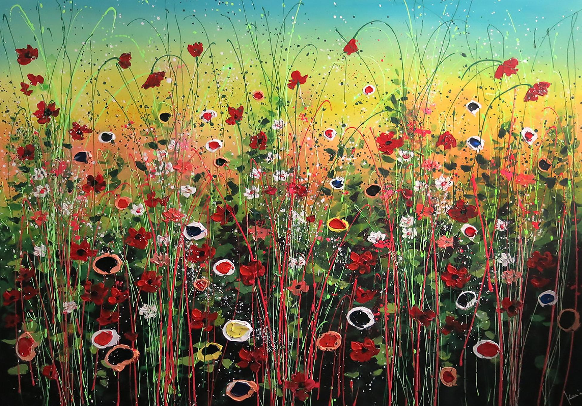 flower garden iii schilderij