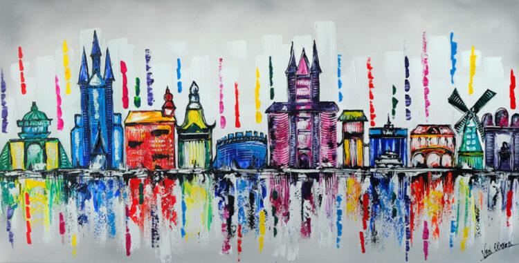 """Schilderij """"Skyline Leiden"""""""