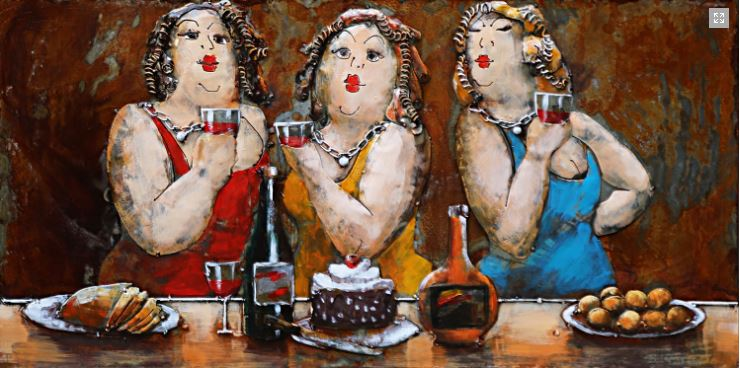 "Metalen Schilderij ""Red Wine and Dessert for the Triplets"""