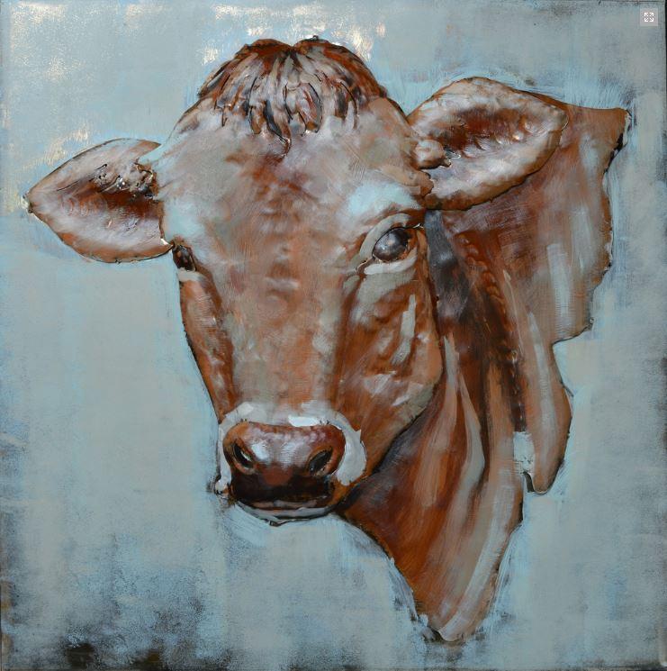 """Metalen Schilderij """"The Brown Cow's Gaze"""""""